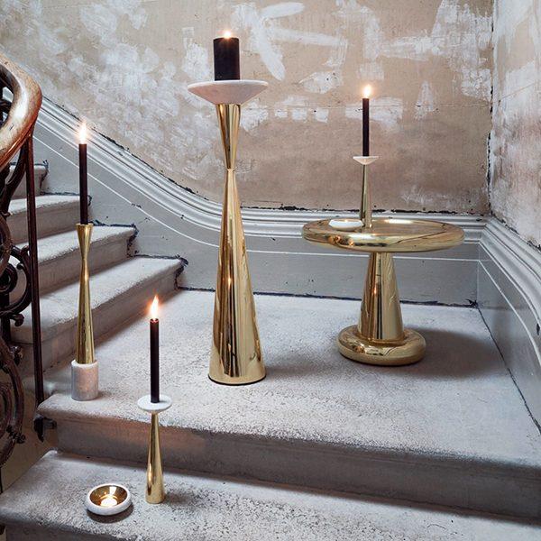 Stone Tea Light Holder Brass Xtra Designs Pte Ltd